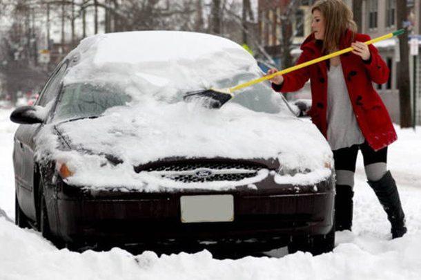 Чем и как счищать снег с машины